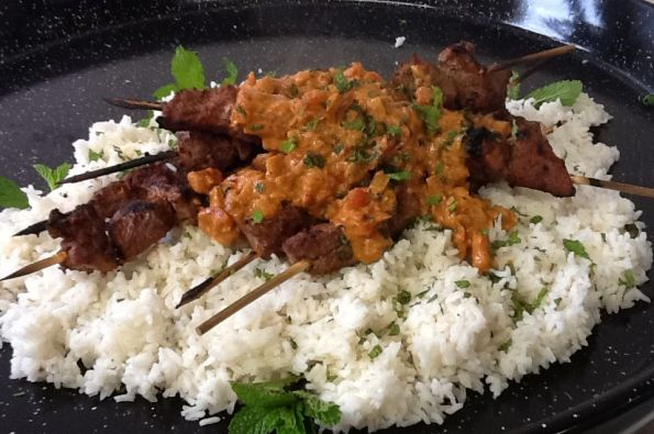 Grilled Lamb Skewers with Tikka Masala sauce over rice...Yum!