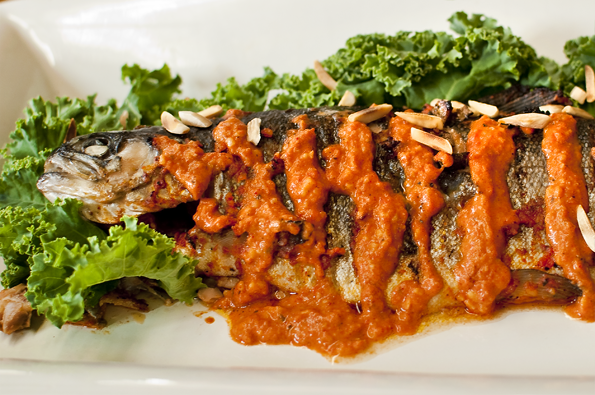 Spicy Smoked Paprika Romesco Over Grilled Trout