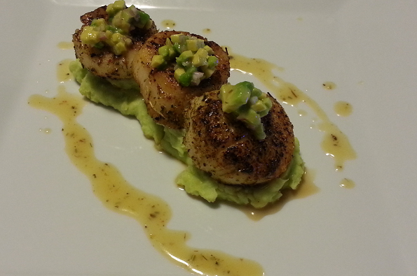 Pacific Seafood Seared Scallops with Thai Basil Smashed Potatoes and Lemongrass Beurre Blanc.