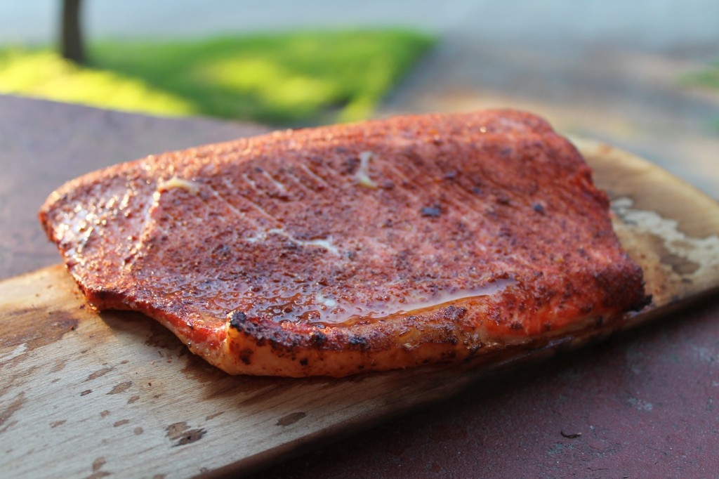 planked salmon, grilled salmon