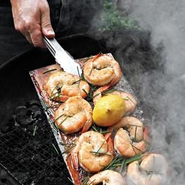 planked shrimp, grilled shrimp