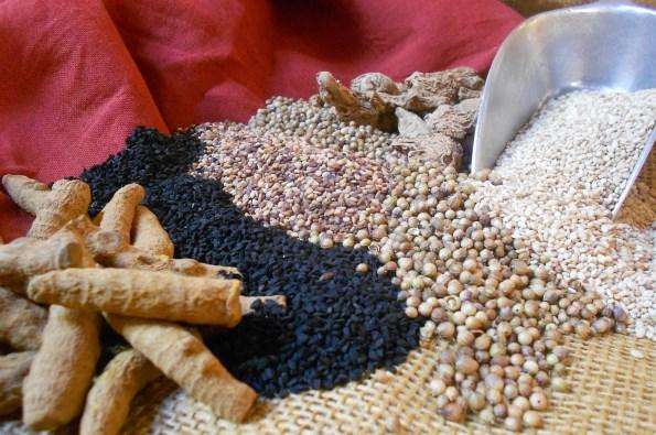 turmeric nigella sesame grains of paradise ginger