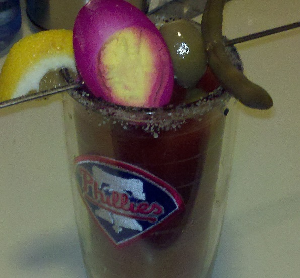 Bloody mary with a beet pickled egg