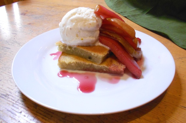 Cardamom Olive Oil Cake with Rose-Poached Pears and Pistachio Gelato