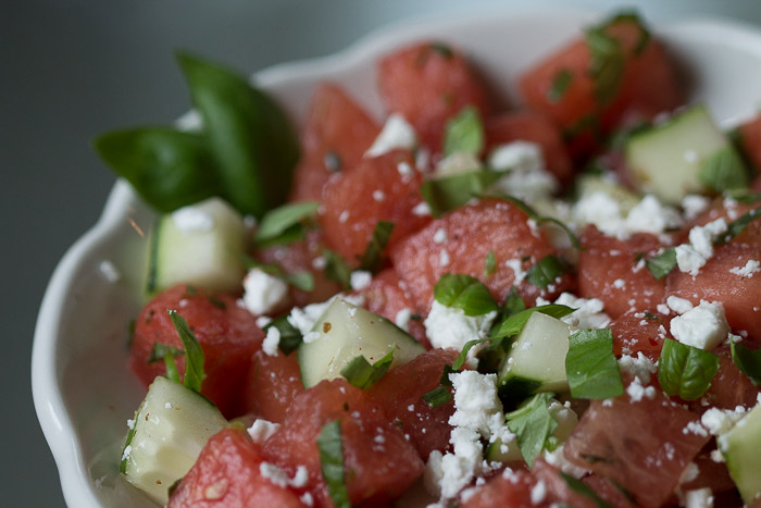 Emerald city watermelon salad