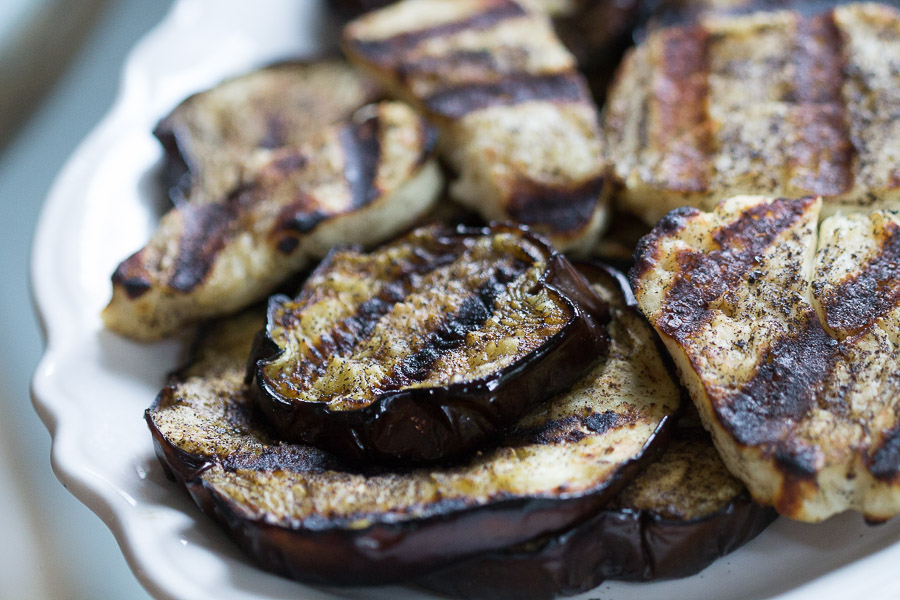 tea rubbed eggplant halloumi