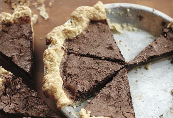 Chocolate Chili Chess Pie with Liquored Pie Dough