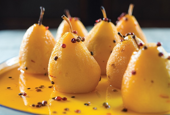 Pink Peppercorn and Ginger Poached Pears