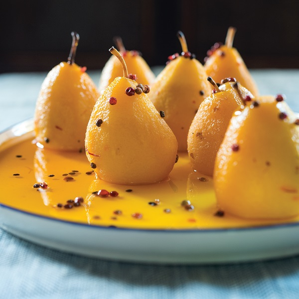 Pink peppercorn and ginger poached pears 600 x 600