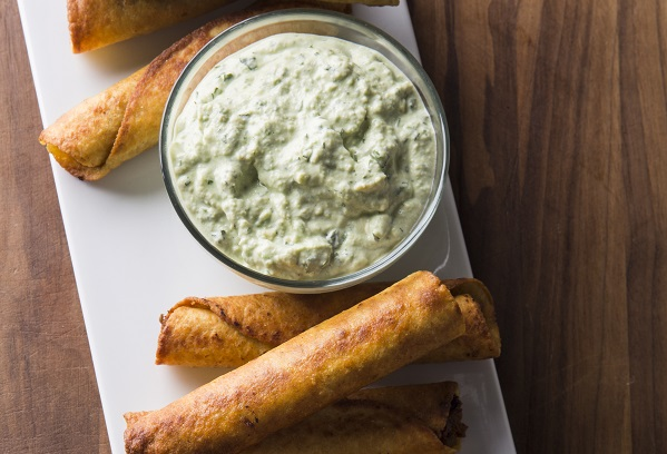 Beef and Bean Taquitos with Avocado Sauce