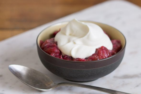 rhubarb compote with coriander cream