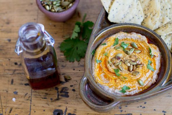 Pumpkin Seed Dip with Yucatan Rojo Spiced Oil
