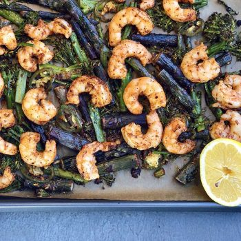 Sheet Pan Shrimp with Rose Harissa