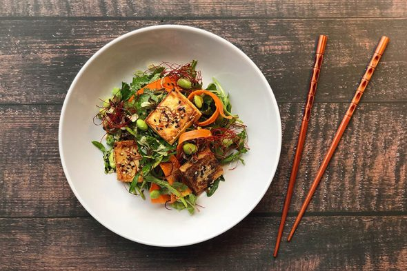 Marinated Tofu Salad with Gomasio and Korean Chili Threads